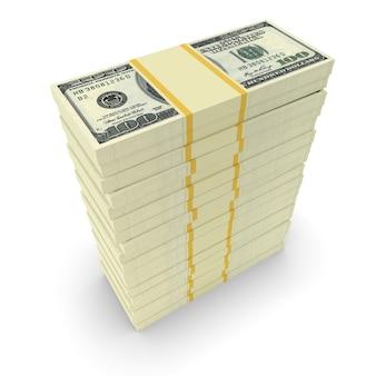 Duże stosy pieniędzy z dolarów. koncepcyjne finanse