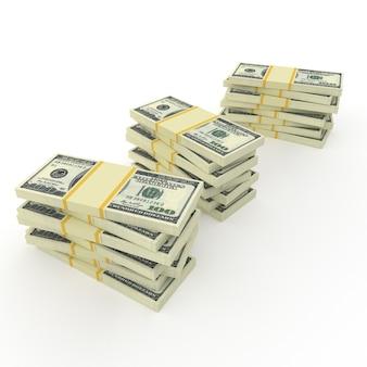 Duże stosy pieniędzy z dolarów na białym tle
