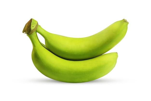 Duże zielone banany na białym
