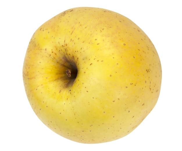 Duże żółte pyszne jabłko na białym tle (ze ścieżką)