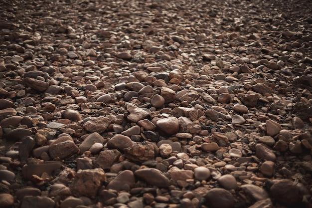 Dużo brązowych okrągłych kostek brukowych osadzonych w podłodze o różnych kształtach i rozmiarach. widok zenith