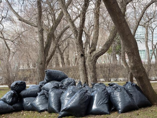 Dużo czarnych worków na śmieci z liśćmi lub śmieciami. sprzątanie ulic miasta ze śmieci, wywóz śmieci.