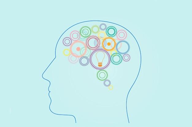 Dużo kół zębatych w różnych kolorach i żarówka w widoku z boku głowy człowieka, koncepcja generowania pomysłów, myślenia, wymyślania.