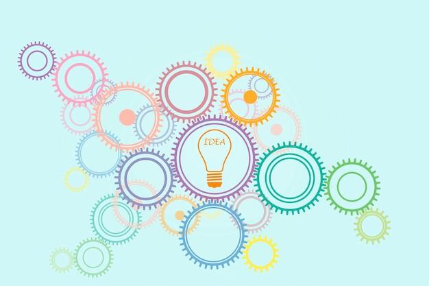 Dużo kół zębatych w różnych kolorach i żarówka z pomysłem na napis, generowanie koncepcji pomysłów.
