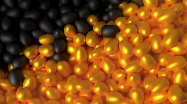 Dużo rozrzuconych czarnych i złotych jajek. 3d ilustracja