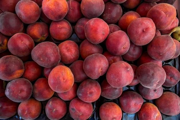 Dużo świeżych owoców brzoskwini oskubanych z gałęzi drzewa pomarańczowego.