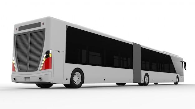 Duży autobus miejski z dodatkową wydłużoną częścią dla dużej pojemności pasażerskiej w godzinach szczytu lub transportu osób w gęsto zaludnionych obszarach. wzór szablonu do umieszczania napisów