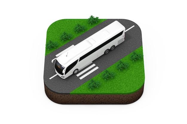 Duży biały autobus wycieczka autokarowa nad izometryczną ikoną trasy na białym tle renderowania 3d