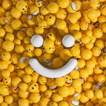 Duży biały uśmiech wypełniony małymi żółtymi kulkami emocji. ilustracja renderowania 3d.