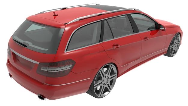 Duży czerwony rodzinny samochód biznesowy o sportowym i jednocześnie wygodnym prowadzeniu. renderowanie 3d.