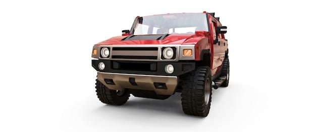 Duży czerwony terenowy pickup dla terenów wiejskich lub wypraw na białej odizolowanej powierzchni