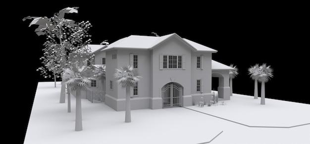 Duży dom z ogrodem i basenem. 3d model w bielu na czarnym tle