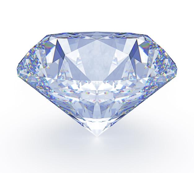 Duży jasny błyszczący diament na białym tle