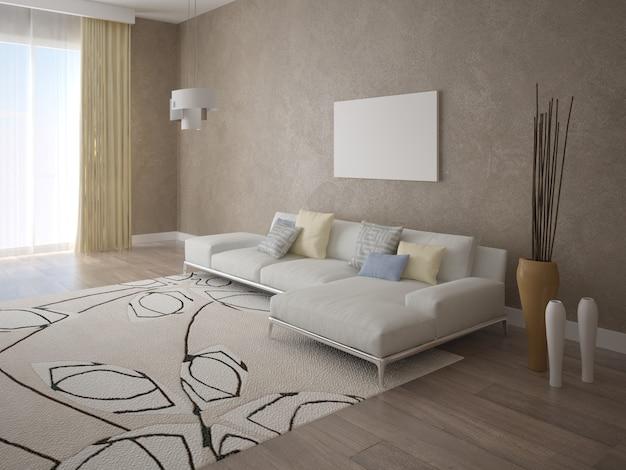 Duży jasny salon z nowoczesną sofą
