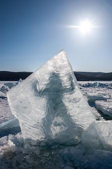 Duży kawałek lodu stoi pionowo a za nim sylwetka człowieka