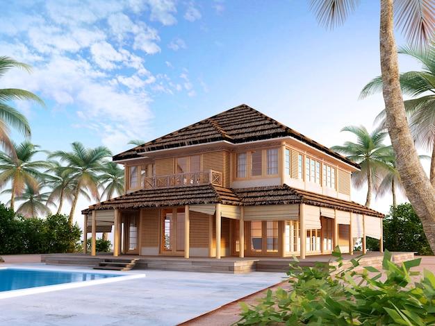 Duży luksusowy bungalow na wyspach oceanicznych z dwupiętrowymi i dużymi oknami oraz balkonem