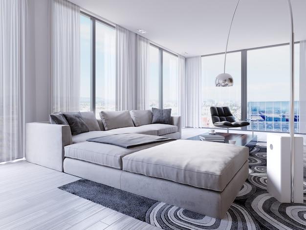 Duży luksusowy narożnik z fotelem przy panoramicznych oknach z pięknym widokiem na miasto. renderowanie 3d
