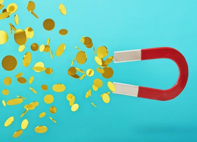 Duży magnes wyłapuje pieniądze. koncepcja zdobywania sukcesu. błękitne tło