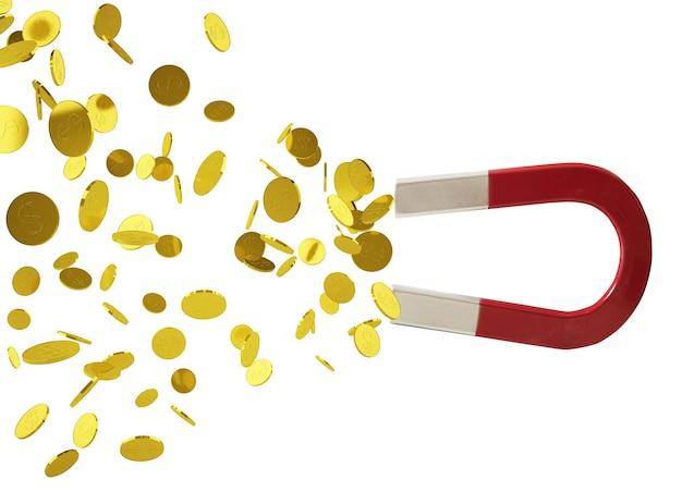 Duży magnes wyłapuje pieniądze. koncepcja zdobywania sukcesu. na białym tle