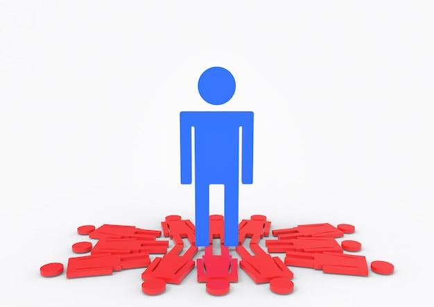 Duży niebieski mężczyzna stojący na czerwone znaki płci żeńskiej.