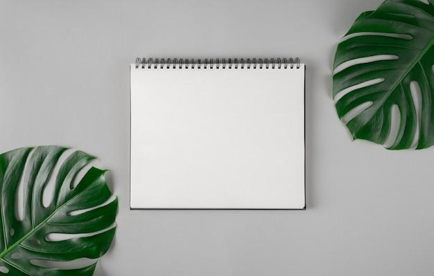 Duży notatnik pusta strona i naturalne tropikalne zielone monstera pozostawia miejsce na tekst