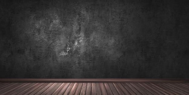 Duży nowoczesny pokój z czarną gipsową ścianą, drewnianą podłogą i cokołem.