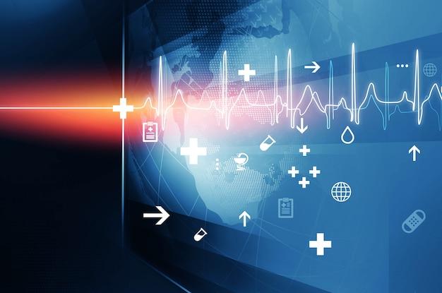 Duży płaski ekran z symbolami zdrowia i schemat pulsu