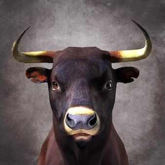 Duży rogaty byk. ilustracja 3d