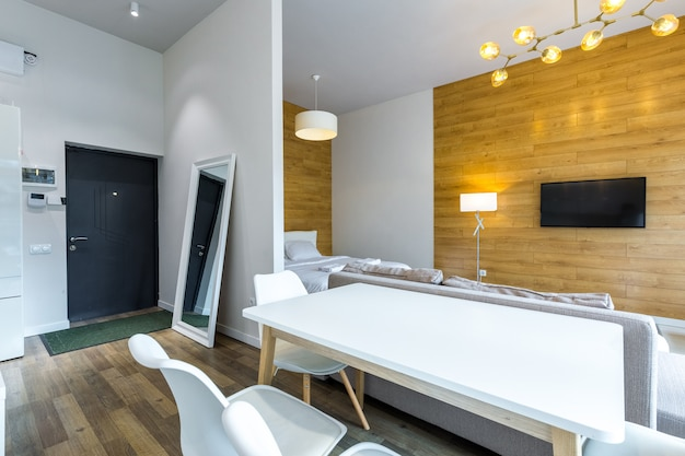 Duży salon z łóżkiem w nowoczesnym stylu w białej jasnej kolorystyce