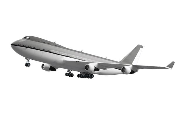 Duży samolot pasażerski na białym tle na białej powierzchni