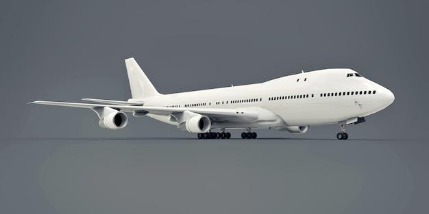 Duży samolot pasażerski o dużej pojemności do długich lotów transatlantyckich. biały samolot na szarym tle na białym tle. ilustracja 3d.