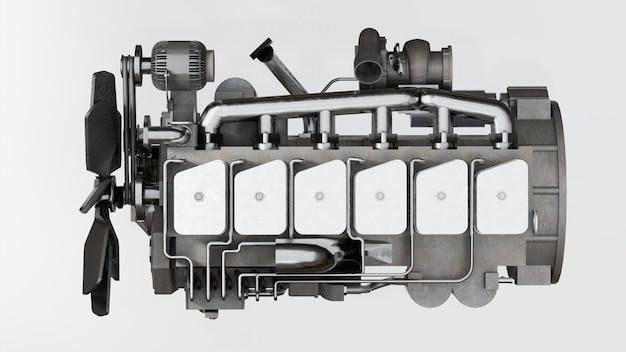 Duży silnik diesla z przedstawioną ciężarówką. renderowania 3d.