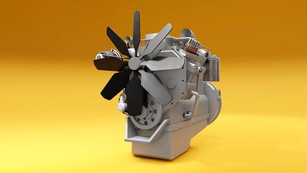 Duży silnik wysokoprężny z przedstawioną ciężarówką. renderowanie 3d.