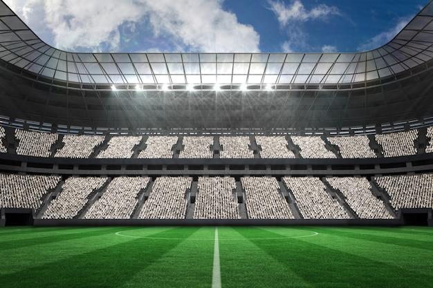 Duży stadion piłkarski z białymi wentylatorami