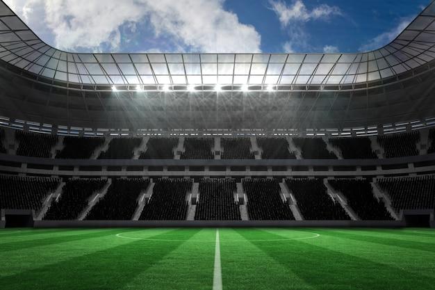 Duży stadion piłkarski z pustymi trybunami