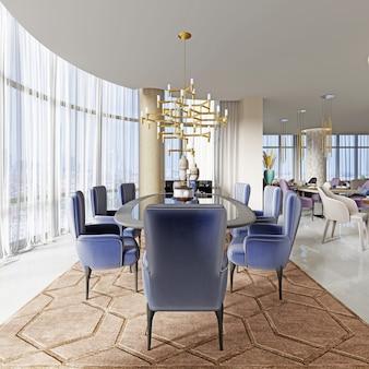 Duży stół dla wielu osób w hotelowej restauracji. renderowanie 3d