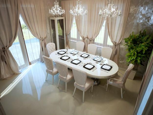 Duży stół jadalniany w modnym, przestronnym pokoju