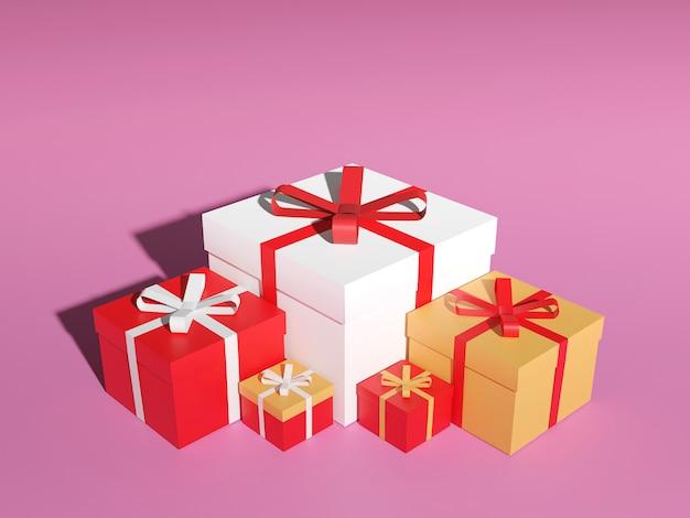 Duży stos kolorowych owiniętych pudełek prezentowych. dużo prezentów, renderowanie 3d.