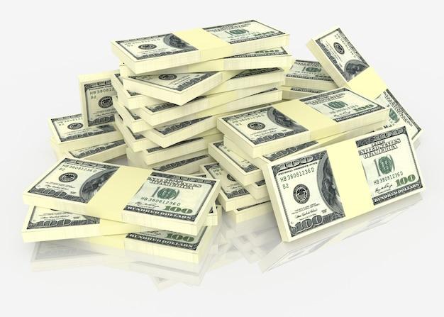 Duży stos pieniędzy dolarów. koncepcje finansowe