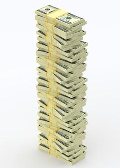 Duży stos pieniędzy z dolarów. koncepcje finansowe