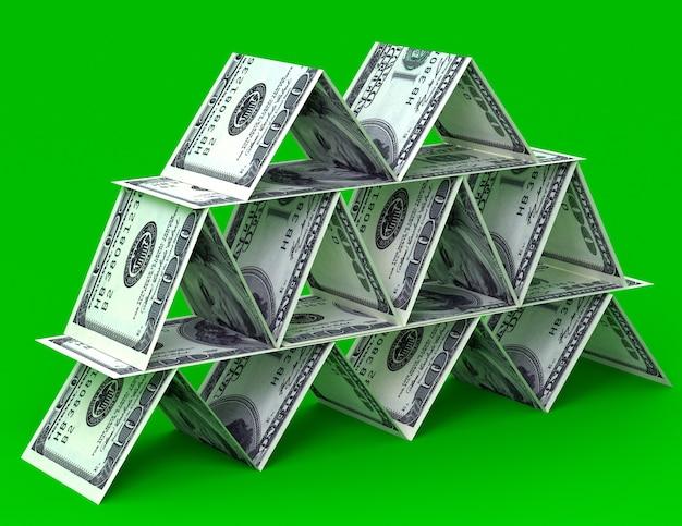 Duży stos pieniędzy z dolarów usa. piramida finansów