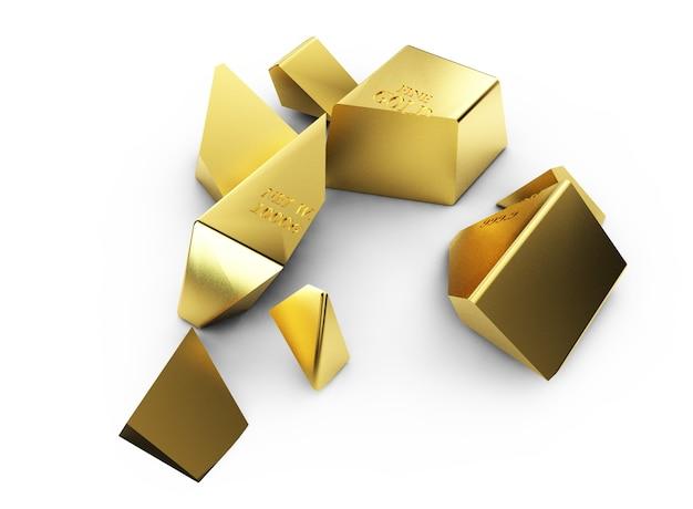 Duży stos sztabek złota zburzony kulą do niszczenia. renderowania 3d