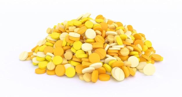 Duży stos żółte tabletki na białym tle z bliska, ilustracja 3d