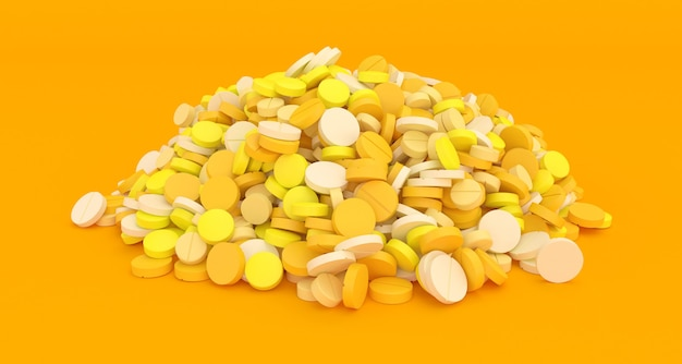 Duży stos żółte tabletki na żółtym tle z bliska, ilustracja 3d