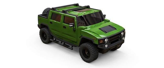 Duży zielony pickup terenowy na wieś lub wyprawy na na białym tle. ilustracja 3d.