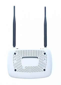 Dwa anteny wi fi routera tylna strona odizolowywająca na bielu