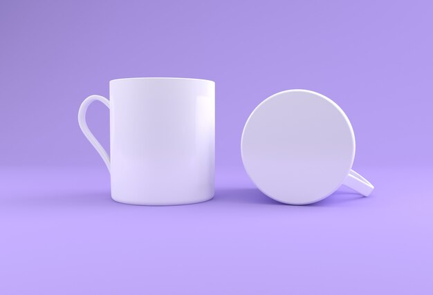 Dwa białe realistyczne kubki mockup 3d renderowane
