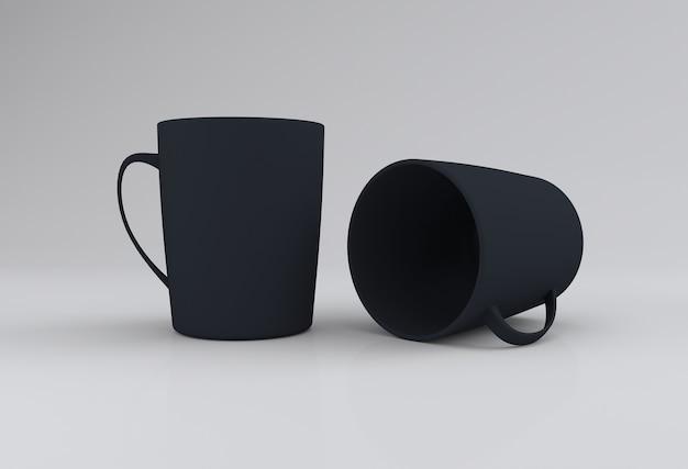 Dwa czarne realistyczne kubki mockup 3d renderowane