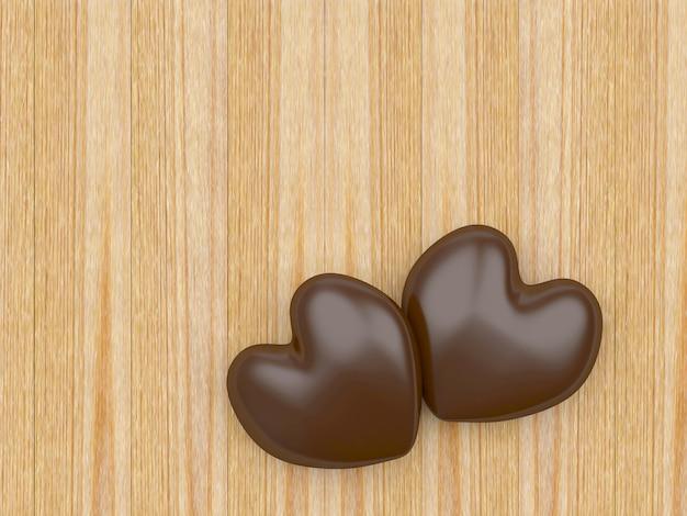 Dwa czekoladowe serca na drewnianym