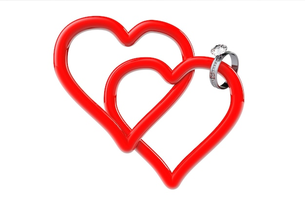 Dwa czerwone serca z brylantową obrączką na białym tle